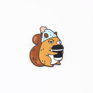 Coffee Addict Squirrel Enamel Pin, Blue