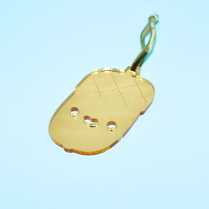 Laser Cut Gold Mirror Acrylic Kawaii Acorn Christmas Ornament