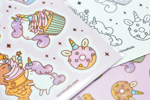 Unicorn sticker and coloring sheet by Noristudio