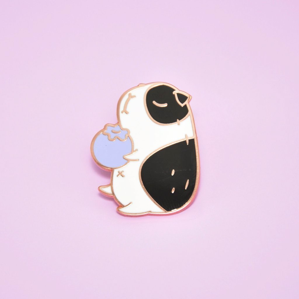 Black and White Guinea Pig Enamel Pin by Noristudio