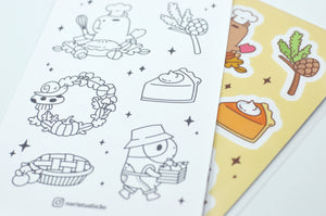cute Guinea pig and capybara sticker sheet and coloring sheet by Noristudio