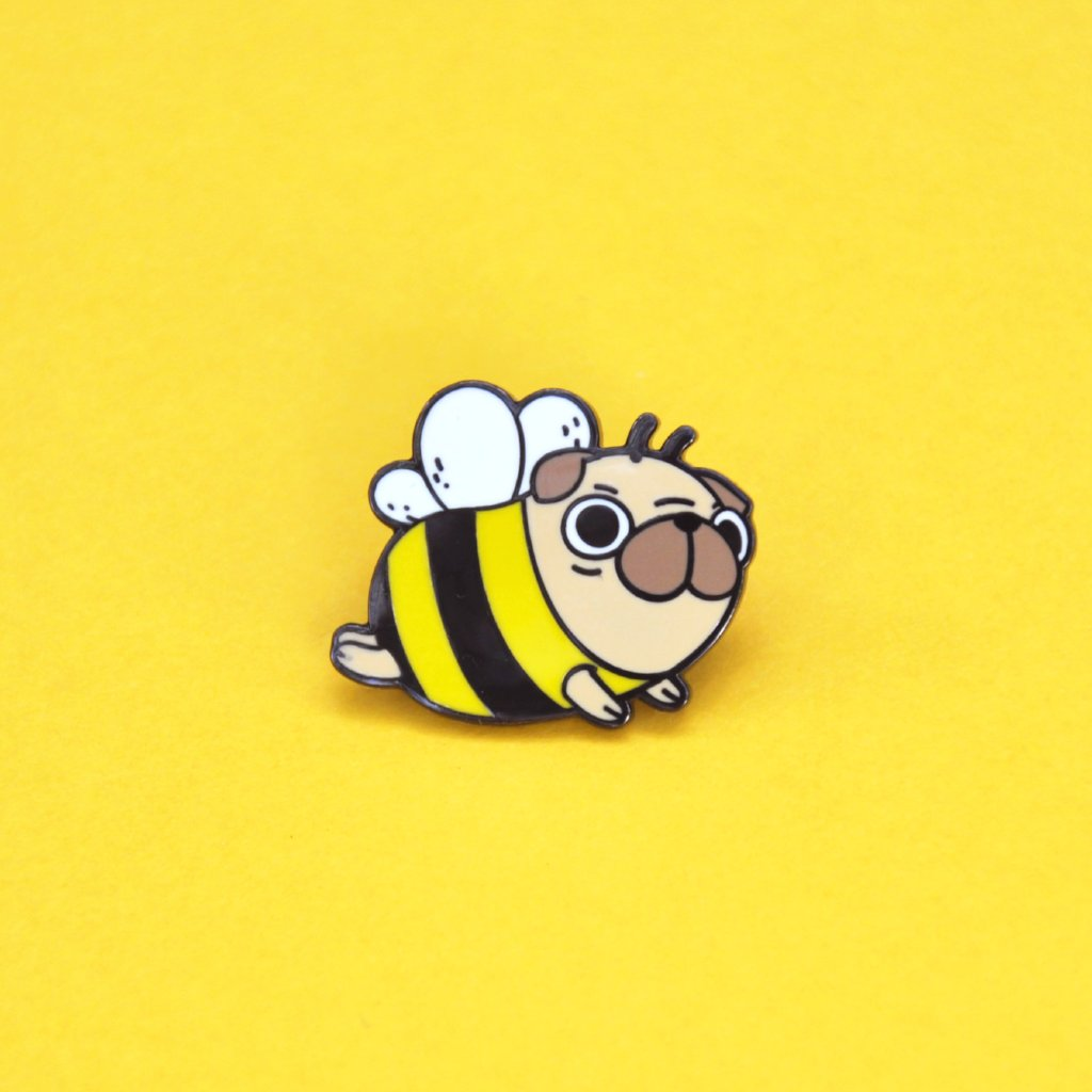 pug bee pug enamel pin by Noristudio