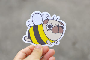 Pug Bee Vinyl Sticker
