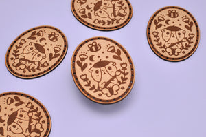 Artist Bubu Laser Cut Leather Patch, Sew On Patch