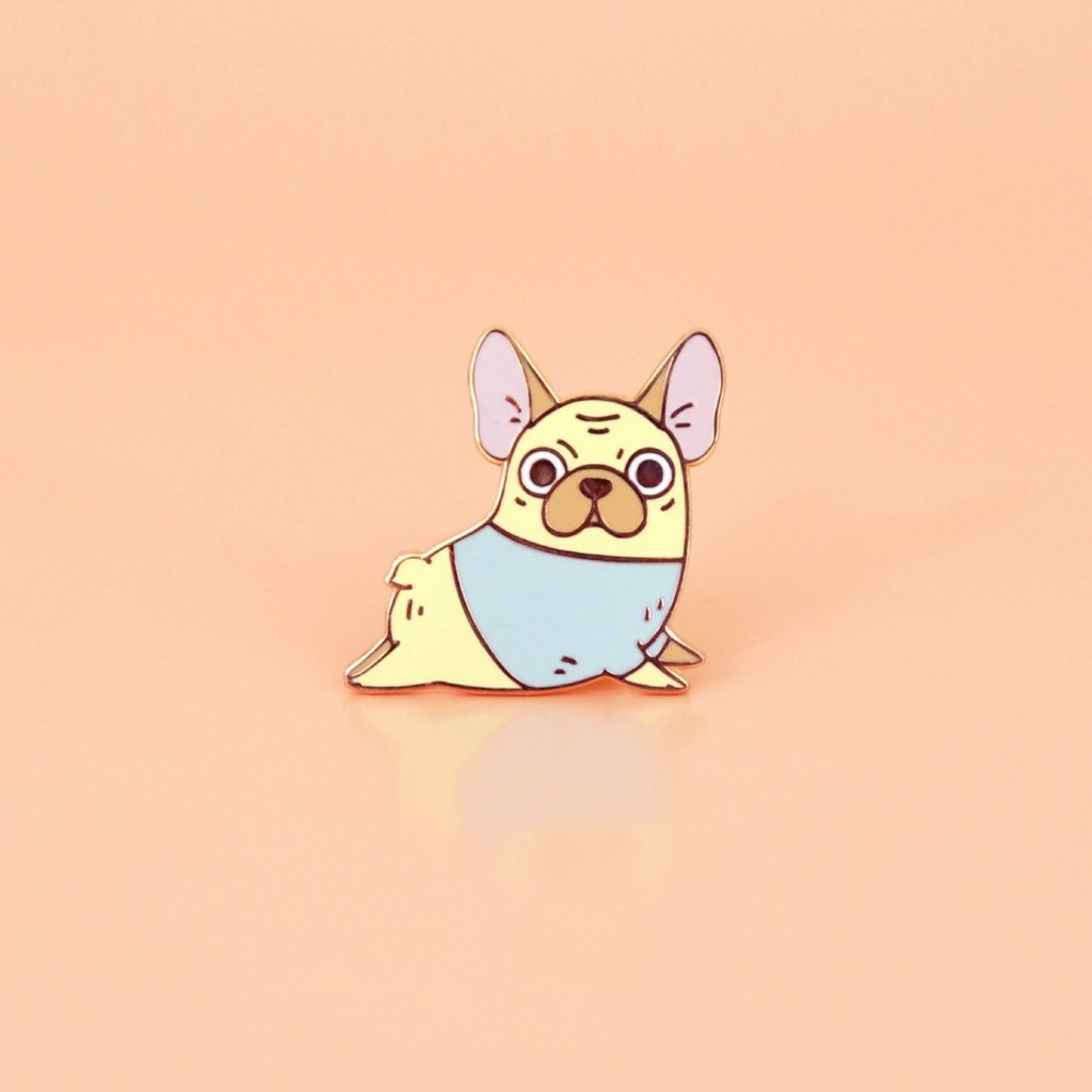Rose gold plated french bulldog enamel pin by Noristudio
