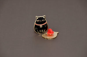 Gold plated black fat cat hard enamel pin by Noristudio