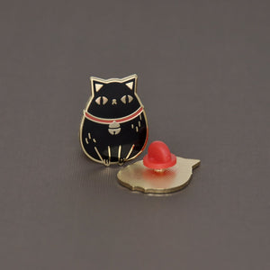 Gold plated black fortune cat hard enamel pin by Noristudio
