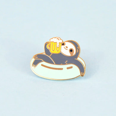 beer sloth enamel pin by Noristudio, sloth lover gift
