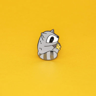 black nickel plated raccoon enamel pin