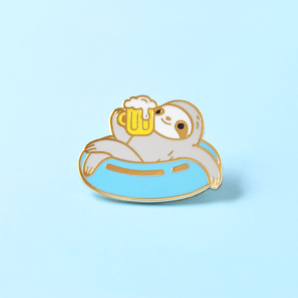 swimming sloth enamel pin by Noristudio