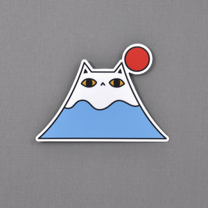 mount fuji cat vinyl sticker by Noristudio
