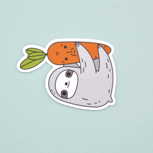 Sloth and Carrot Vinyl Sticker 1