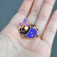 Halloween Witchy Black Pug Enamel Pin by Noristudio