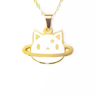 24K gold plated planet cat white cat necklace by Noristudio