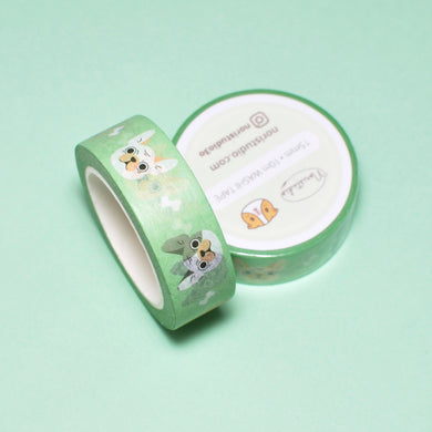 french bulldog washi tape by Noristudio mint green washi tape