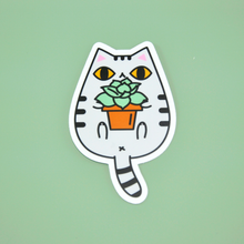 gray tabby cat vinyl sticker by Noristudio