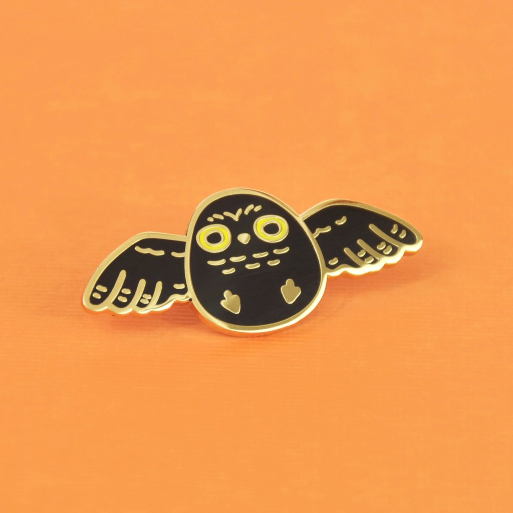 Black Owl Enamel Pin