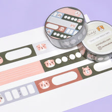 Bubu and Moonch Label Washi Tape for Planner, Pink, Olive and Sage Blue