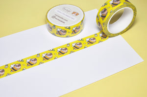pug bee washi tape pug washi tape by Noristudio pug planner supplies, pug sticker, pug stationery