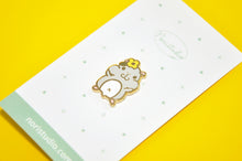light gray hamster enamel pin by Noristudio
