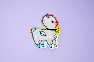 holographic alpaca sticker by Noristudio