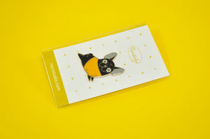 Black French Bulldog Pin by Noristudio