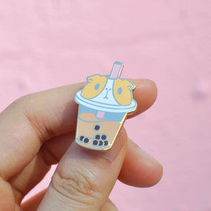 Guinea pig shape bubble tea enamel pin by Noristudio