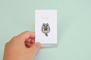 tiger cat pin tabby cat pin by Noristudio