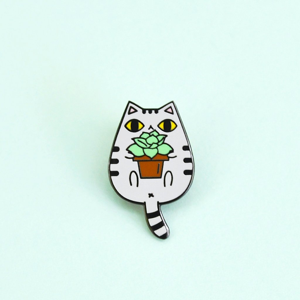 gray tabby cat with succulent plant cat enamel pin