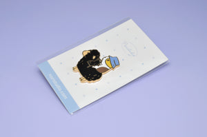 Bubu the Guinea Pig Knitter Enamel Pin, 18K Gold Plated Black Sheep