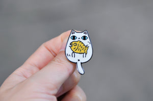 cute white cat lapel pin by Noristudio