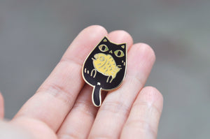 cute black cat enamel pin by Noristudio