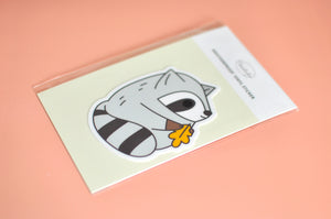 raccoon laptop sticker by Noristudio