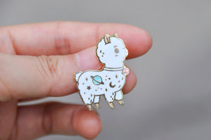 gold plated white alpaca enamel pin by Noristudio