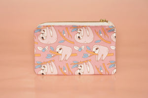 pink sloth card wallet by Noristudio, sloth coin purse