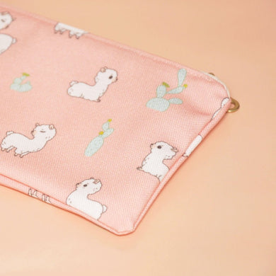 Alpaca Pattern Zipper Pencil Case, Pink