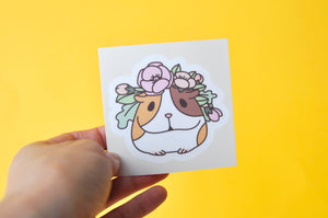 Flowers and Guinea pig laptop sticker by Noristudio
