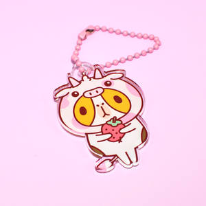 Limited Edition Everyday Bubu Acrylic Charm, Strawberry Cow Bubu