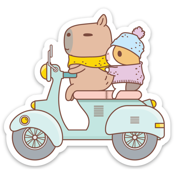 Bubu and Mooch Riding Scooter Vinyl Sticker by Noristudio