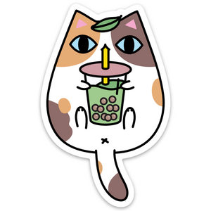 Calico Cat and Bubble Tea Vinyl Sticker by Noristudio