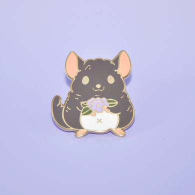 chinchilla enamel pin by Noristudio