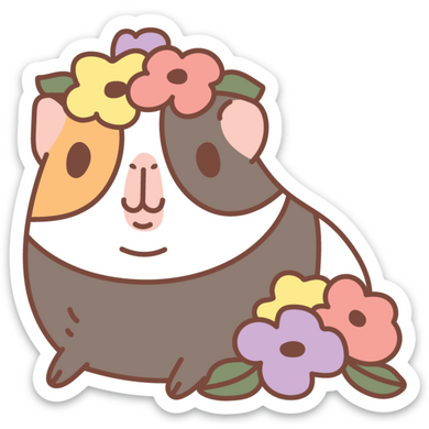 Guinea Pig and Flowers Vinyl Sticker