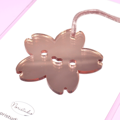 Laser Cut Rose Gold Mirror Acrylic Kawaii  Sakura Christmas Ornament