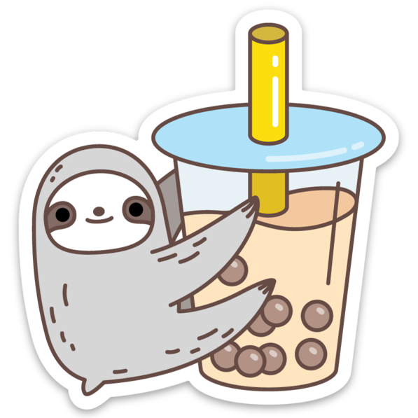 Sloth Loves Bubble Tea Sticker by Noristudio