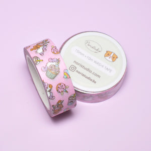 Bubu and Moonch Kawaii Pink Unicorn Party Washi Tape