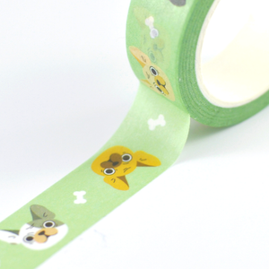 mint green washi tape with french bulldogs pattern  by Noristudio