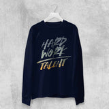 HARD WORK OVER TALENT LONG SLEEVE T-SHIRT (WHITE, BLACK, NAVY) - Titan Rise