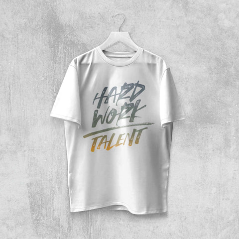 HARD WORK OVER TALENT T-SHIRT (WHITE, BLACK, NAVY, ASH) - Titan Rise