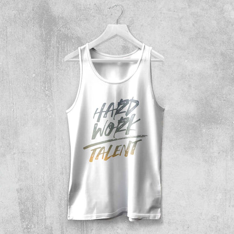 HARD WORK OVER TALENT TANK-TOP (WHITE, BLACK, NAVY, GREY) - Titan Rise