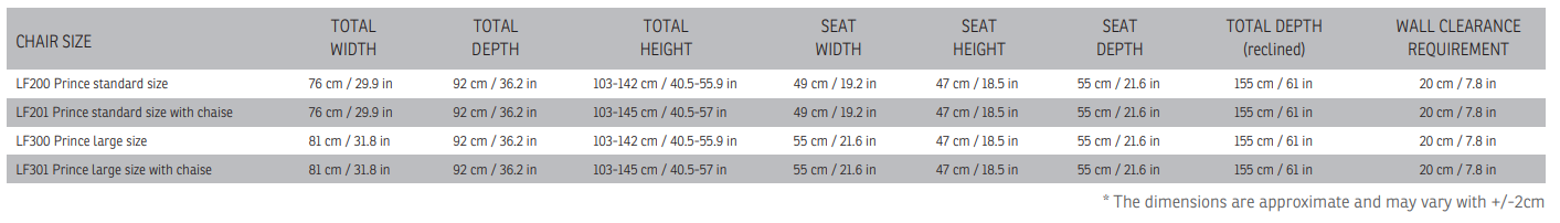 prince lift chair dimensions